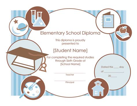 elementary school diploma certificate template templates