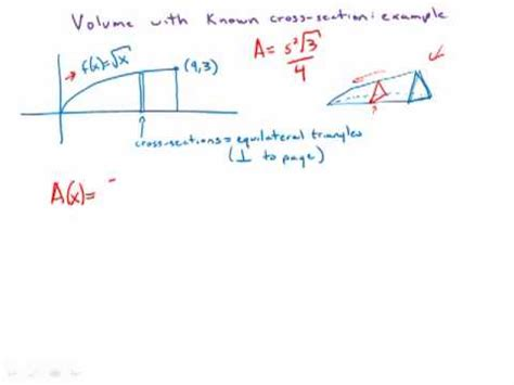 how to do cross sections calculus calculus volume known cross section exle 2 youtube