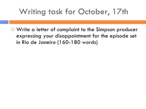 Complaint Letter Writing Task Letter Complaint