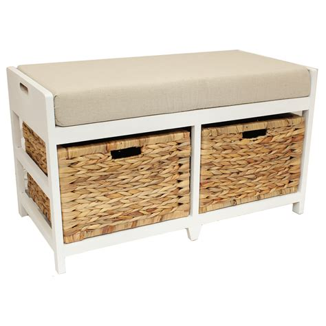 wicker bench seat home hallway bathroom bench seat with seagrass wicker storage baskets cushion ebay