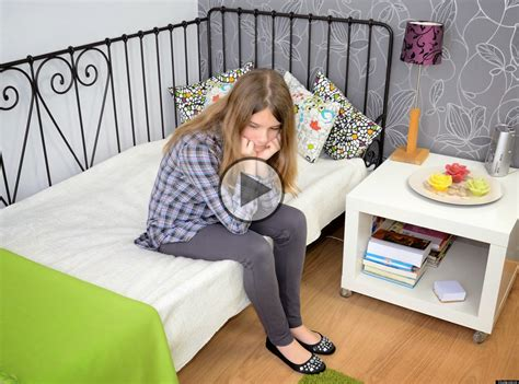 Teen girl alone at home