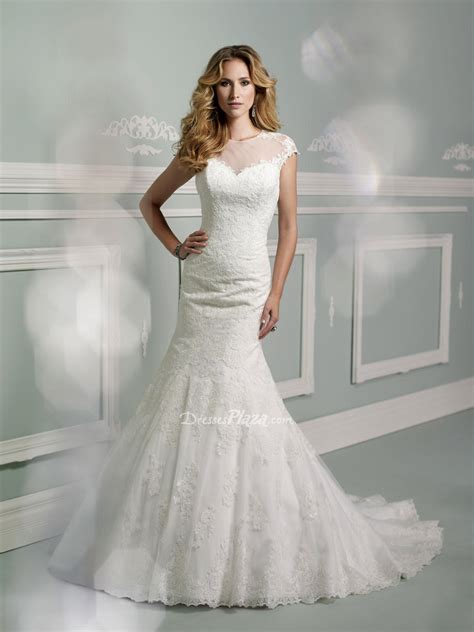 embroidered mermaid wedding dress with illusion cap