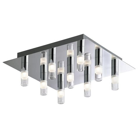 Square Ceiling Light Fixtures Bazz 9 Light Chrome Square Led Ceiling Fixture Cl09led The Home Depot