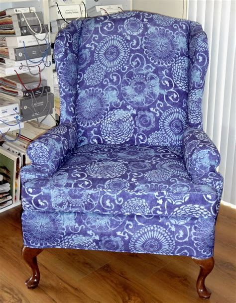 Custom Recliner Slipcovers by Would You Believe Shower Curtains Were Used To Create This Wing Chair Slip Cover It Washes Well