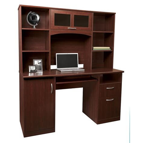 office depot computer armoire realspace 174 landon desk with hutch 64 quot h x 55 1 2 quot w x 23 quot d
