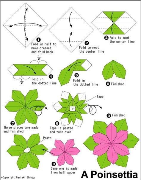 Origami Flower Poinsettia - poinsettia origami diy crafts