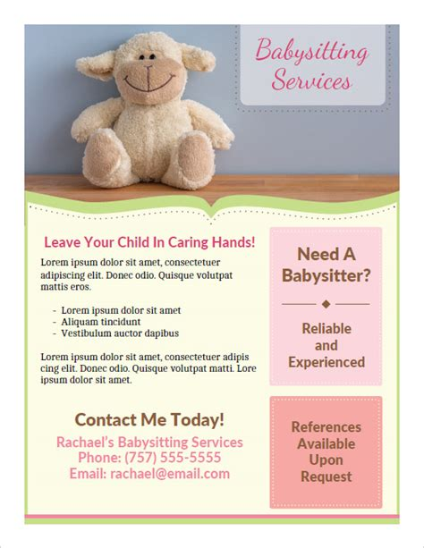 Printable Babysitting Flyers Babysitting Flyer Template Pdf
