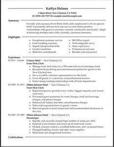 Resume For Front Desk by Front Desk Hotel Resume Resume Format