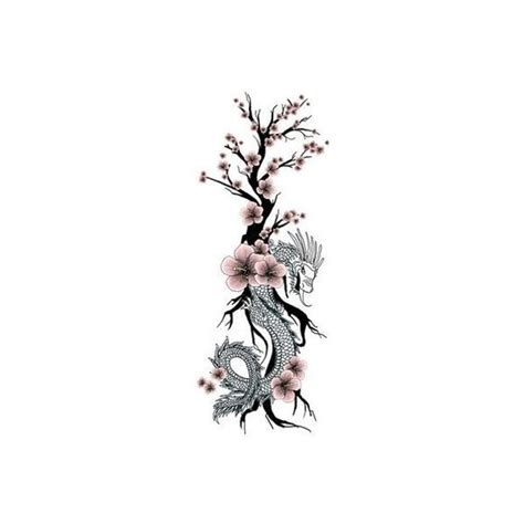 dragon tattoo with cherry blossom japanese dragon flower tattoo cherry blossom liked on