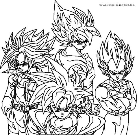 dragon ball z color page cartoon color pages printable