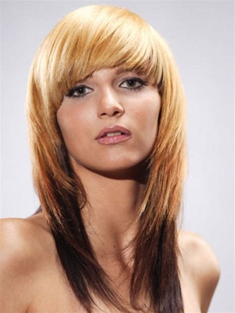hairstyles bangs straight hair sharp and modern medium straight hairstyle with bangs