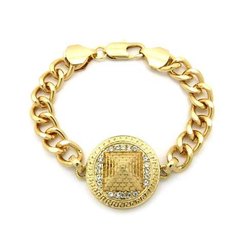 gold illuminati pyramid charm chain link bracelet