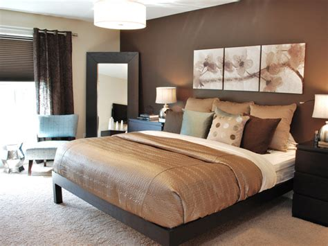 Contemporary Master Bedroom with Chocolate and Taupe Accents   HGTV