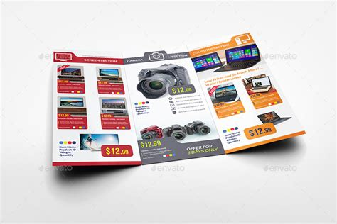 electronics products catalog tri fold brochure template by
