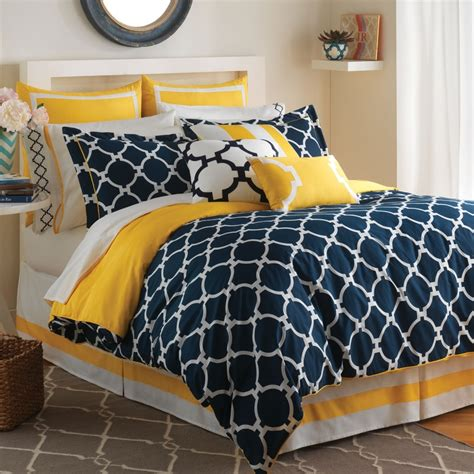 white and yellow comforter modern bedroom decoration with contemporary geometric blue