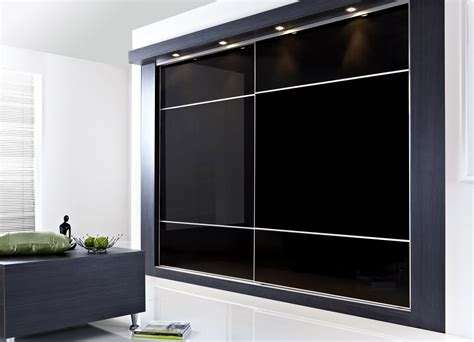 Contemporary Closet Doors Contemporary Sliding Closet Door In Black For Bedroom With Recessed Lighting Decofurnish