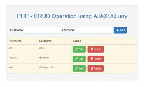 tutorial ajax com jquery crud operation using php mysqli and ajax jquery free