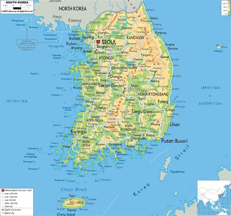 map of korea physical map of south korea ezilon maps