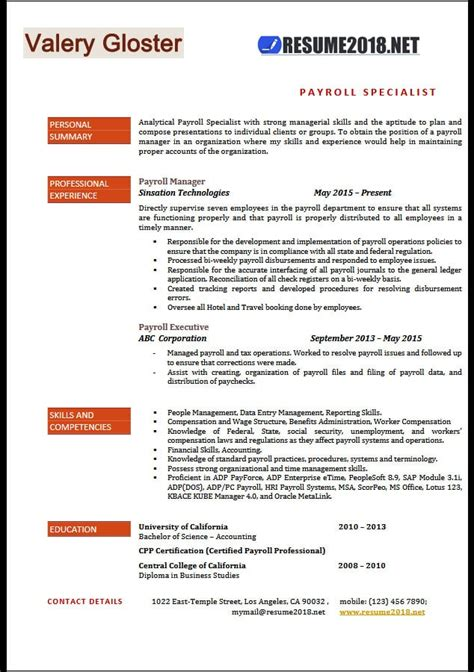 exle resume format 2018 payroll specialist resume templates 2018 resume 2018