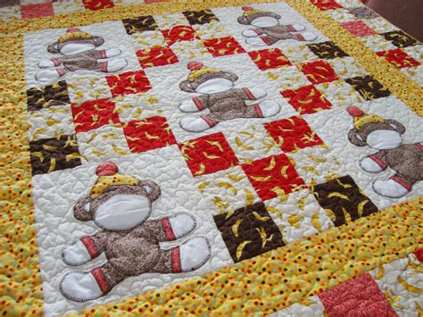 Crib Quilts by Sock Monkey Crib Quilt Pattern Is Here Quilt Addicts