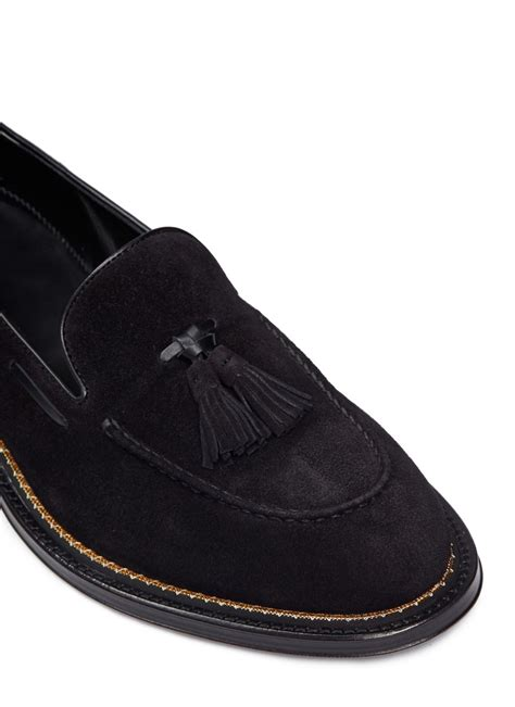 mcqueen loafers lyst mcqueen suede tassel loafers in black for