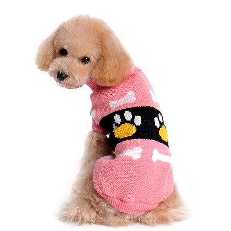m and l puppy s m l puppy pet dogs knitted tops jumper sweater bone pattern clothes in sweaters