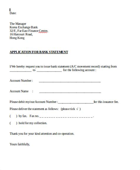 application letter bank statement 30 application letter templates format free premium