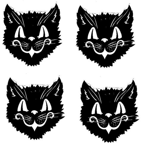 printable halloween decorations black and white vintage halloween cat clipart 53