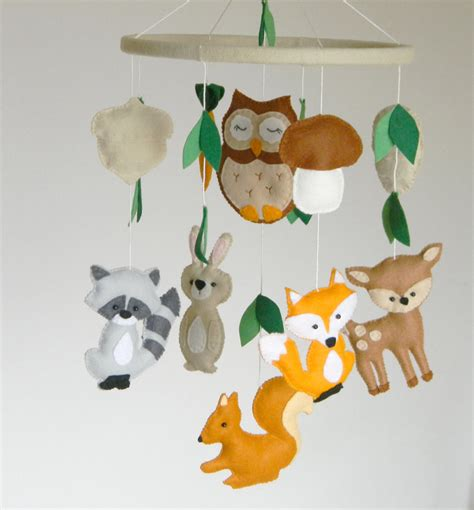 Handmade Nursery Mobiles - custom woodland mobile woodland nursery mobile animals mobile