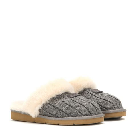 cosy knit ugg slippers ugg cozy knit slippers in gray lyst