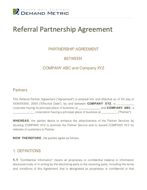 referral agreement template referral partnership agreement