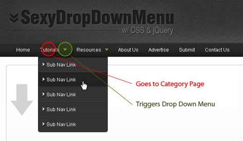 tutorial one page website jquery sexy drop down menu w jquery css noupe