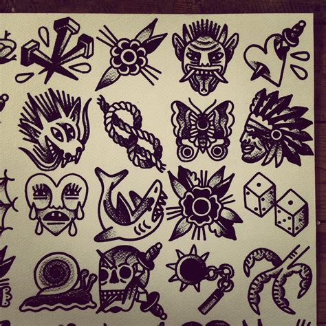 small tattoo flash collection of 25 small traditional flash set
