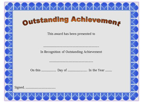 Outstanding Achievement Certificate Templates Best 10 Templates Editable Certificate Of Achievement Template