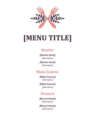 blank fancy menu template | world of printable and chart