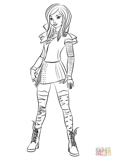 coloring pages for disney descendants mal from descendants coloring page free printable