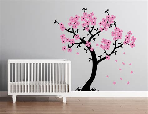 cherry blossom tree wall stickers cherry blossom tree wall decal black and light pink