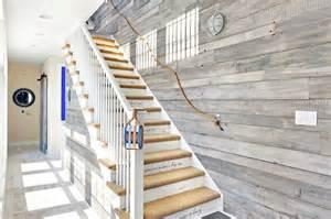 Rope Stair Banister Rope Railing Cottage Entrance Foyer Echelon Custom Homes