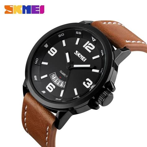 Skmei Casual Leather Water Resistant 30m 1 jual beli skmei casual leather water