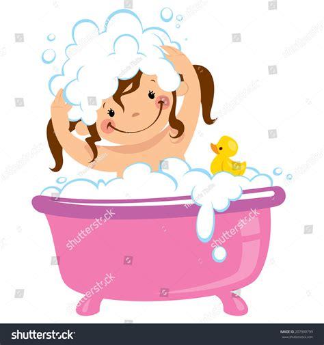 Foam Soap For Bathtub Cartoon Baby Having Bath Bathtub Stock Vector