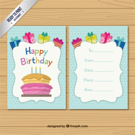birthday card template free vector colored birthday card template vector free