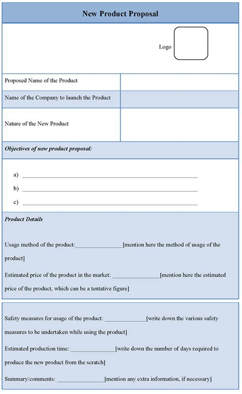 Proposal Template For New Product Template Of New Product Proposal Sle Templates Product Template