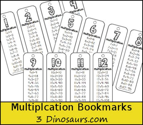 printable math bookmarks multiplication bookmarks free 3 dinosaurs