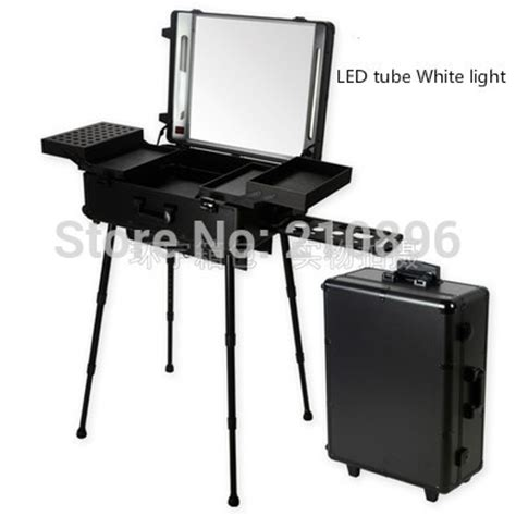 station lighted led white light black professional aluminum trolley cosmetic with station led lighted