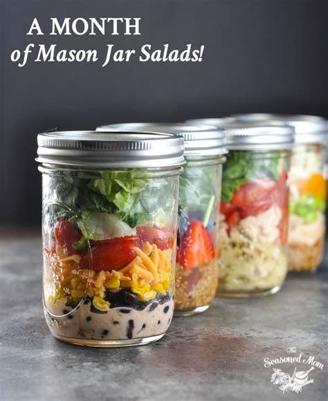 printable salad in jar recipes a month of mason jar salads the seasoned mom