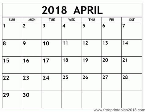 printable calendar 2018 free free printable calendar april 2018 free printables 2018