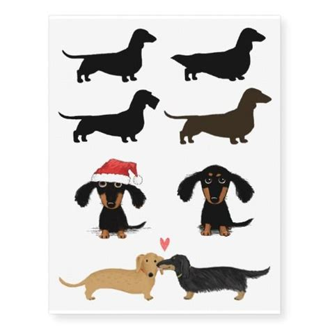 dachshund silhouettes and cute cartoon dogs temporary