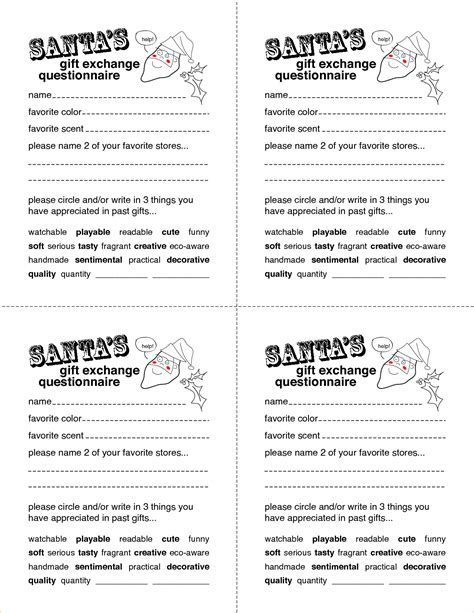 5 Secret Santa Questionnaire Templatereport Template Document Report Template Secret Santa List Template
