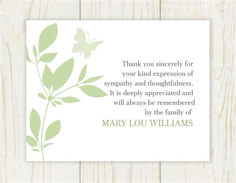 template funeral thank you cards butterfly funeral thank you card digital file sympathy