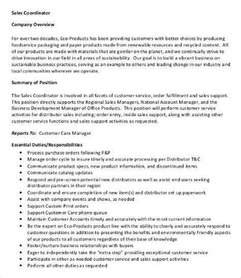 Customer Service Coordinator Description by 10 Coordinator Description Templates Pdf Doc Free Premium Templates